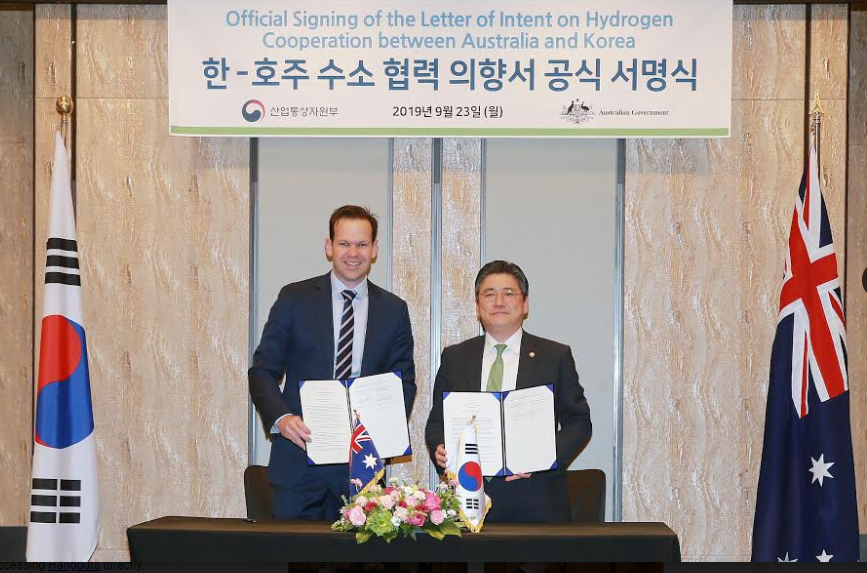 Korea and Australia signs a letter of intent on hydrogen cooperation
